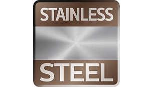 Finitions emblématiques en acier inoxydable titane aux lignes précises
