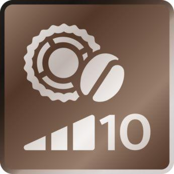 Regulacja ilości kawy, 5 ustawień mocy aromatu, 10 ustawień młynka
