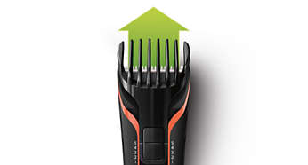 """Includes 2 adjustable combs, trims hair from 1/8""""- 7/16"""""""