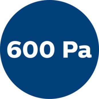 600 Pa teljesítmény a nagy szívóerőhöz