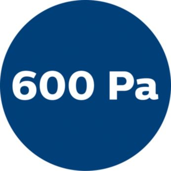600 Pa high power for strong suction