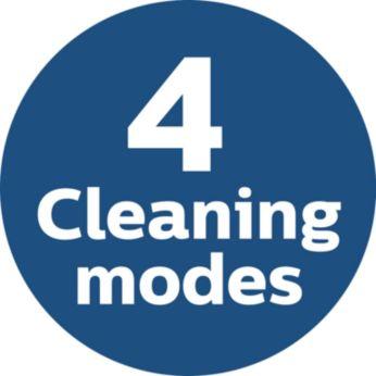 4 takarítási üzemmód a különféle területeknek megfelelően