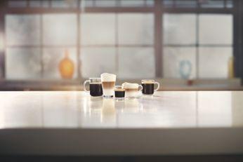 5 rodzajów kaw, w tym cappuccino, na wyciągnięcie ręki