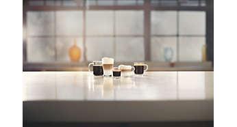 Genießen Sie 5Kaffeespezialitäten auf Knopfdruck u.a. Cappuccino