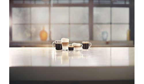 Disfrute de 5 bebidas al alcance de tu mano, incluido el cappuccino