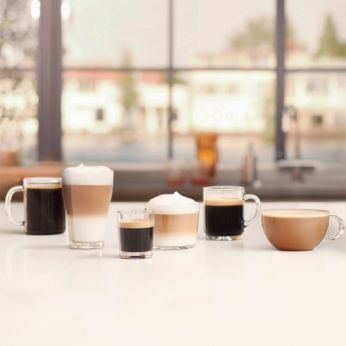 Enjoy 6 beverages at your fingertips, including cappuccino