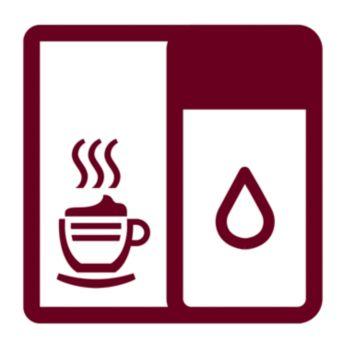 Egyetlen gombnyomással elkészíthető cappuccinók a beépített tejtartálynak köszönhetően