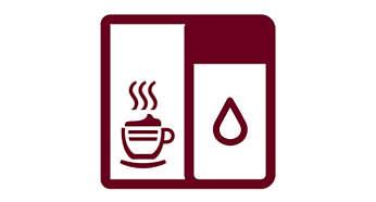 Cappuccino y leche manchada con un solo toque con el recipiente para la leche