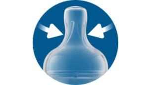 Ребра жесткости предотвращают слипание соски и обеспечивают беспрерывное кормление