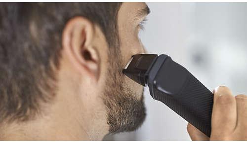 Precyzyjna golarka udoskonala krawędzie policzków, podbródka i szyi