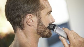 Precision shaver perfects the edges of cheeks, chin and neck