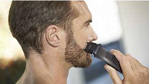 Natančni brivnik poskrbi za popolne linije na licih, bradi in vratu.