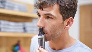 O aparador de pelos do nariz remove gentilmente pelos indesejados do nariz e das orelhas