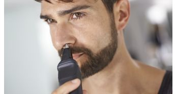 The nose trimmer gently removes unwanted nose and ear hairs