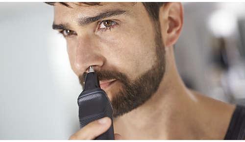 Aparatul de tuns părul din nas elimină cu delicateţe părul nedorit din nas şi urechi