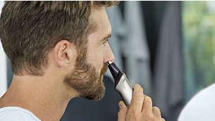 Il rifinitore per naso rimuove delicatamente i peli superflui di naso e orecchie