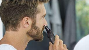 Триммер для носа мягко удаляет нежелательные волосы на носу и ушах