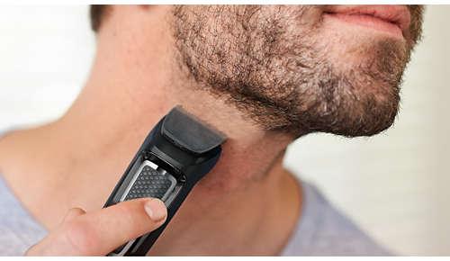 Trymer pozwala nadać kontury brodzie i włosom w celu wykończenia stylizacji