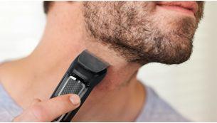 Триммер стрижет волосы и создает контуры бороды для завершения образа