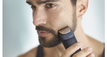 The metal trimmer accurately cuts the beard, hair and body hair
