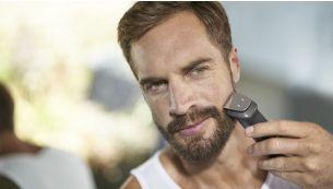 Металлический триммер точно подстригает бороду, волосы и тело