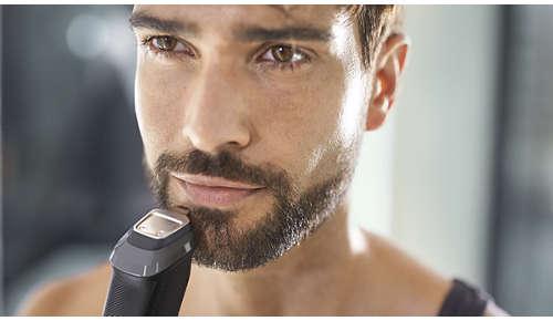 Metalen precisietrimmer definieert de randen van uw baard of sik