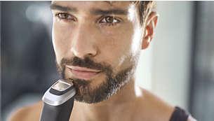 Tondeuse de précision en métal définissant les contours de votre barbe ou bouc