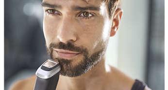 Metalowy trymer do modelowania umożliwia wyprofilowanie brody lub koziej bródki