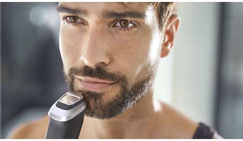 Přesný kovový zastřihovač definuje linie plnovousu nebo bradky