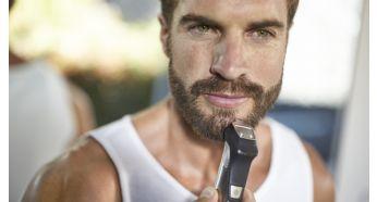 Детальный металлический триммер определяет края вашей бороды или бородки