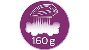 強大噴射蒸氣輸出每分鐘達 160 克,輕鬆熨平頑強縐褶