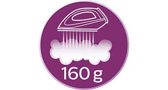 Hơi phun tăng cường lên đến 160 g giúp làm phẳng dễ dàng các nếp nhăn khó ủi
