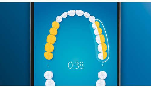 Wskazuje pominięte miejsca podczas szczotkowania, co pozwala umyć 100% powierzchni zębów