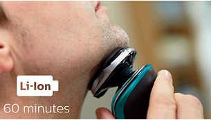 60 minuti di rasatura senza filo dopo una ricarica completa