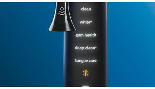De tongreiniger koppelt automatisch met uw tandenborstel