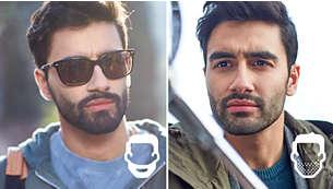 Puedes elegir entre una barba larga de 5mm, una corta de 3 días o un rasurado al ras