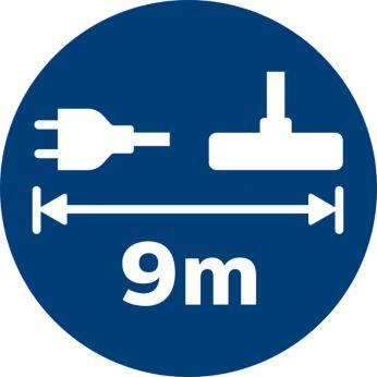 Благодаря рабочему диапазону до 9метров вы сможете дольше убираться, не отключая прибор от сети