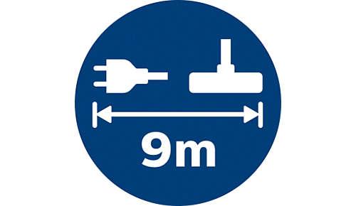 El alcance de 9metros permite llegar más lejos sin desenchufar