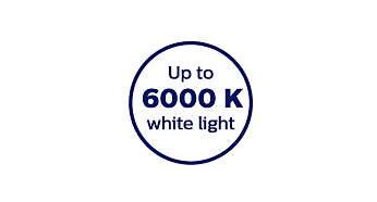 Temperatura de cor de 6000 Kelvin para luz branca nítida