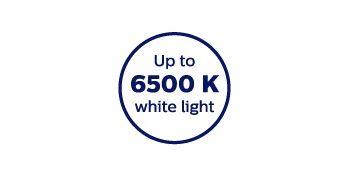 Kirkkaan valkoista 6500 kelvinin valoa
