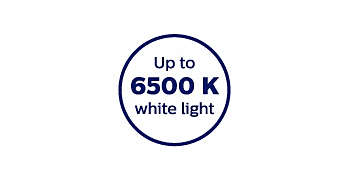 6500-Kelvin colour temperature for crisp white light