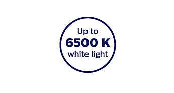 6 500 Kelvin färgtemperatur för klart, vitt ljus