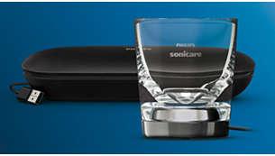Oplaadreisetui met USB-oplader en oplaadglas