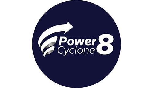 La technologie PowerCyclone8 sépare la poussière de l'air
