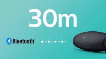 """Stiprus """"Bluetooth"""" ryšys iki 30 m arba 100 ft"""