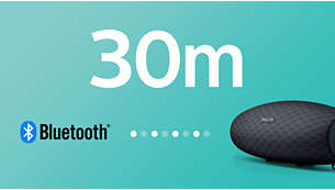 Strong Bluetooth connection up to 30 m or 100 ft