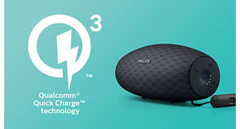 Quick-charge recharges speaker 3 times faster