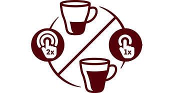 Intensitätseinstellung für einen milden langen oder einen kurzen starken Kaffee