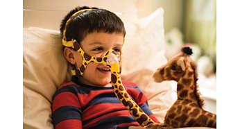Ett barnvänligt material med giraffmönster
