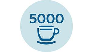 Jusqu'à 5000tasses* sans détartrage grâce à AquaClean
